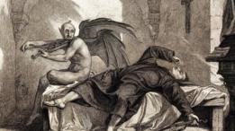 Un grabado en el que aparece un demonio atacando a una persona dormida