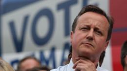 El ex primer ministro británico David Cameron durante la campaña del Brexit