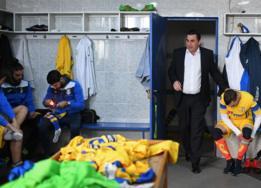 Bruno Canastro en el vestuario antes de un partido contra el Candal.