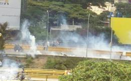 Fotos de disturbios en el este de Caracas, en Venezuela