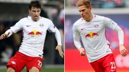 Jugadores del Salzburgo y del Leipzig