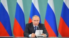 Vladimir Putin speaking at meeting of Russian sports federations