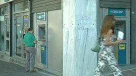 Man using a cashpoint