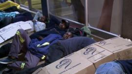 Zimbabweans camping out