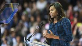 Michelle Obama at a rally in Philadelphia for Democratic nominee Hillary Clinton