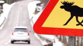 Driverless car and elk sign on Swedish road