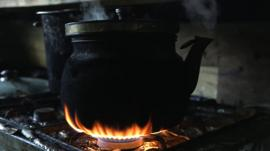 Kettle on a gas stove in Calais