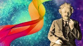 Albert Einstein and waves graphics