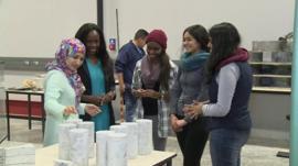 Naadiya Mosajee with aspiring engineers