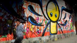 Street art in Rio - angel painted by Marcos Neves