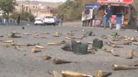 Bullet cases on the road in Cizre