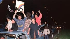 Chileans celebrating the referendum result