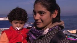 Mother and child arrive at Lesbos