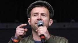 Former Blur frontman Damon Albarn performs with the Orchestra Of Syrian Musicians to open the Pyramid Stage on day three of the Glastonbury Festival