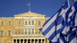 Greek flags in front of parliament