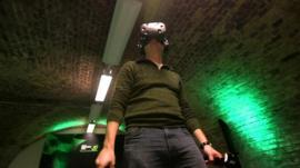 Man wearing virtual reality set