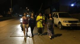 Celina John, Devina Kapoor, Archana Patel Nandi and Neha Singh (L-R)walking the streets of Mumbai after midnight