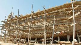 A ship under construction
