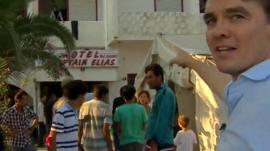 The BBC's James Reynolds looks around a defunct hotel in Greece