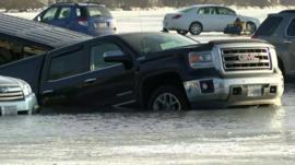Car stuck in a lake