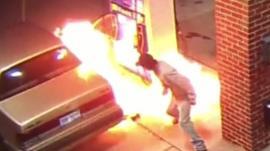 Fire at petrol pump