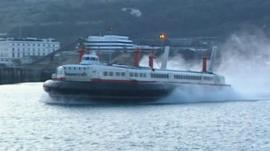 The Princess Margaret Hoverspeed vessel on its last journey in 2000