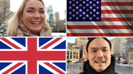 Composite image shows US and UK flags with people in New York explaining election terms