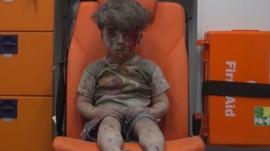 Boy in ambulance in Aleppo