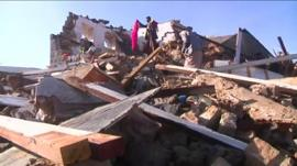 The rubble of a building razed by an airstrike