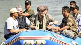 Prince Harry travels by raft in Bardia National Park