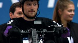 Johnny Beer Timms competes in the Cybathlon