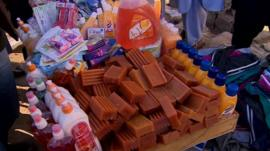 Cart of products for sale