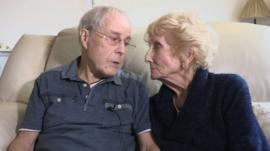 86-year-old Davy Moakes reads a letter to his long lost love, 82-year-old Helen Andre.