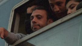 Syrian refugees on train