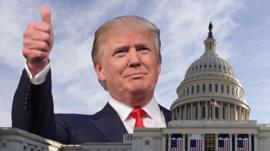 Donald Trump and US capitol building composite