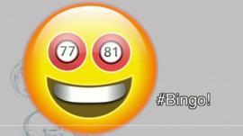 Smiling emoji with Bingo ball eyes