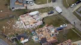 Aerial photo shows damage after a tornado ripped through LaPlace, Louisiana USA