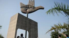 Open Hand Monument at the Capitol Complex in Chandigarh
