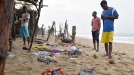 Scene of beach attack in Ivory Coast