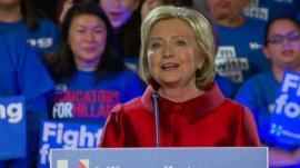 Hillary Clinton making her victory speech