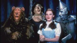Judy Garland and fellow cast-members in the Wizard of Oz