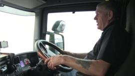 David James driving lorry