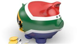 Piggy bank painted in the South Africa flag