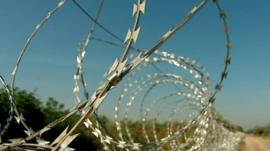 The barbed wire fence on the border between Austria and Hungary