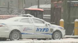 NYPD car in snow