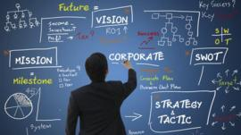 Businessman drawing motivational words on a board