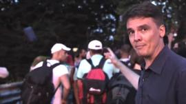 James Reynolds reports as migrant enter Hungary at new crossing