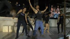 Performers rehearsing Beauty and the Beast musical