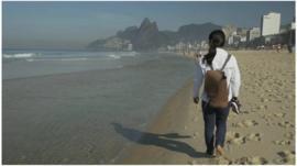 Chigusa Imada on Ipanema beach