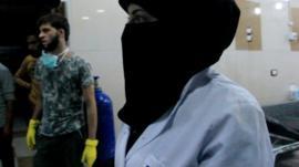 Aleppo nurse Um-Yehia in the hospital